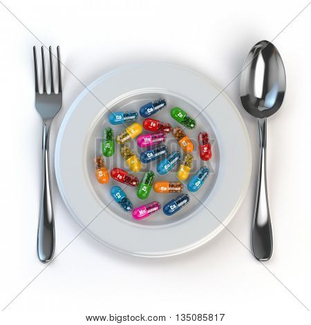 Diet. Pills or vitamins on plate with spoon and fork. 3d illustration