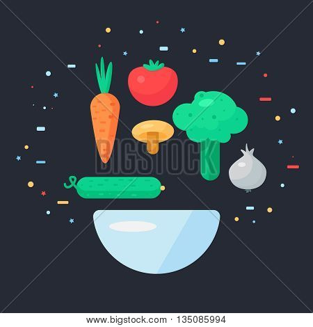 Fresh Vegetable Salad from tomato cucumber and cabbage carrots mushroom and garlic. Tasty food banner. Vegan sticker. Vector