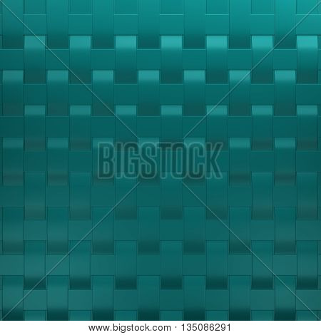 Turquoise tapes braided, abstarct background. 3D rendering.