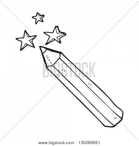 freehand drawn black and white cartoon magic pencil