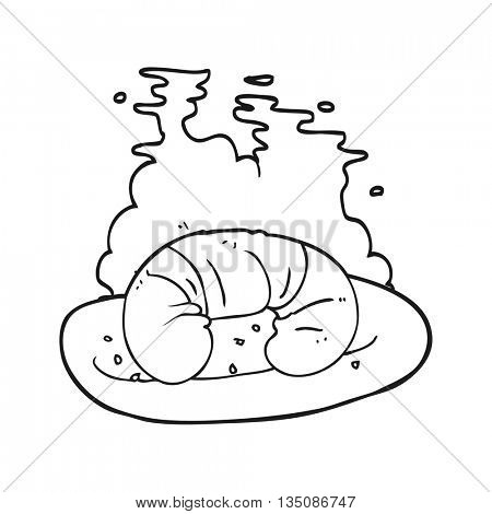 freehand drawn black and white cartoon hot croissant