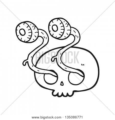 gross freehand drawn black and white cartoon skull with eyeballs