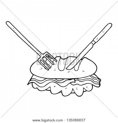 freehand drawn black and white cartoon knife and fork cutting huge sandwich