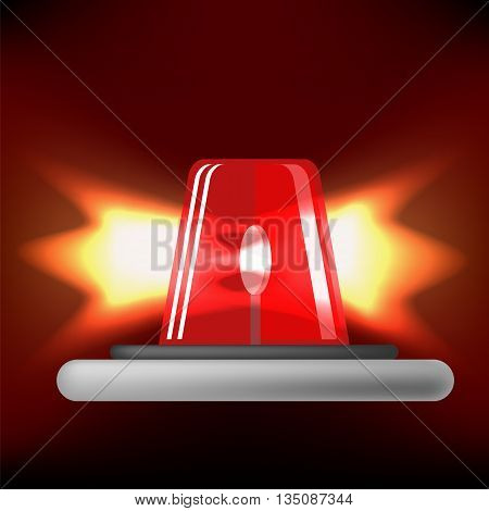 Red Siren Icon Isolated on Black Background. Red Emergency Flash. Car Alarm Symbol