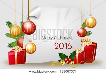 Blank christmas background with red golden gifts and christmas bulbs with text Merry Christmas 2016