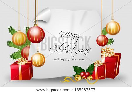 Blank christmas background with red golden gifts and christmas bulbs with text Merry Christmas and happy new year