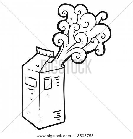 freehand drawn black and white cartoon milk carton exploding