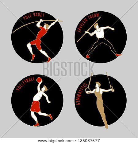 Vector illustration of Athletes. Volleybal. Jevilin Throw. Pole Vault. Artistic Gymnastics. Summer games. Round sports icons with sportsmen for competitions or championship design.