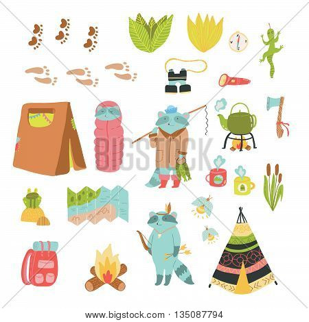 Summer adventure vector set. Cute camping elements and adorable raccoons.