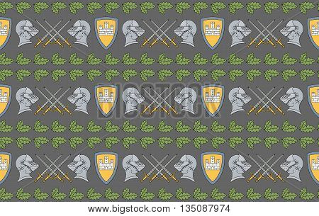 Seamless vector pattern with shields, swords, helmets and oak leaves. Can be used for graphic design, textile design or web design.