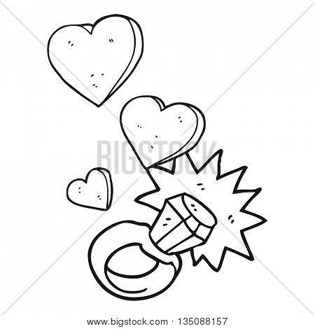 freehand drawn black and white cartoon diamond engagement ring