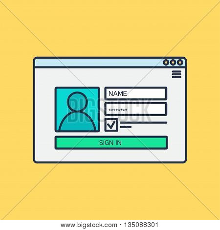 Web Template Web Elements for site form of login to account. Vector