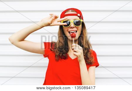 Fashion Portrait Cool Girl With Lollipop Having Fun Over White Background