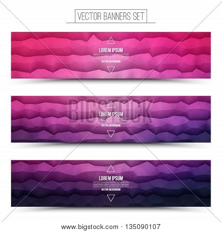 Abstract 3d vector polygonal waveform digital technology pink violet web banners set for business internet advertising ui seo