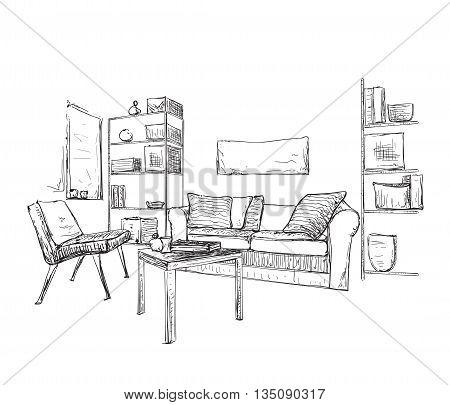 Room interior sketch. Hand drawn sofa and bookshelves.