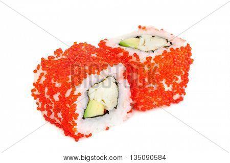 Uramaki maki sushi, two rolls isolated on white. Red tobiko, philadelphia cheese, crab meat, avocado and nori