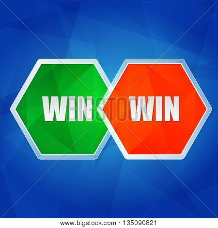 win win - business success teamwork concept words in color hexagons over blue background, flat design, vector