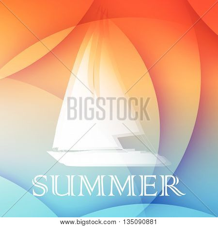 abstract summer background with text and boat in orange and blue, flat design, vector