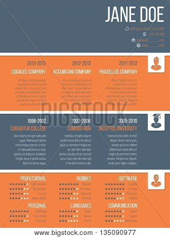 Colorful modern resume cv curriculum vitae template design with timeline