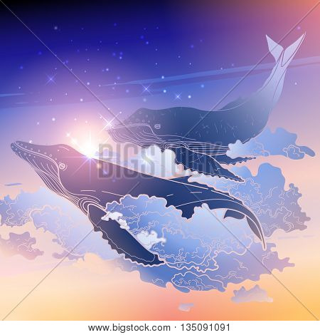 Graphic whales flying in the nigh sky. Sea and ocean isolated creatures. Vector fantasy art in pink, blue and purple colors