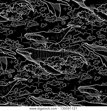 Graphic whales flying in the sky. Sea and ocean creatures. Vector fantasy seamless pattern