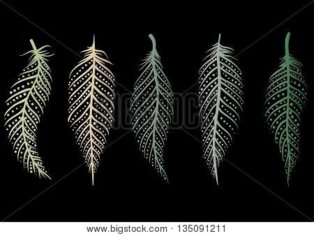 set of five multicolored decorative line art feathers with gradient and dots on a black background