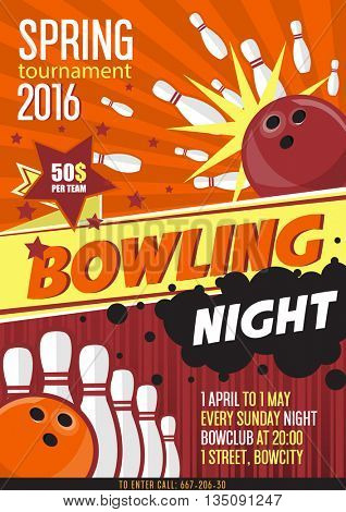 Bowling Tournament Poster Template. Design with Bowling Ball and Pins. Flat Style. Vector illustration.