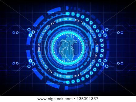 Abstract cardiology with circle technology concept background. illustration vector