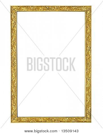 gold stone frame isolated with clipping path