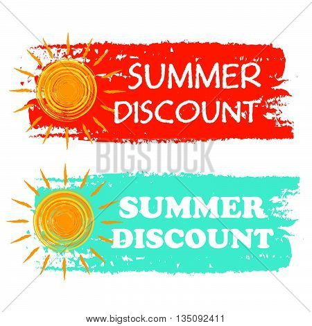 summer discount banners - text in orange and blue drawn labels with yellow sun symbol, business seasonal shopping concept, vector