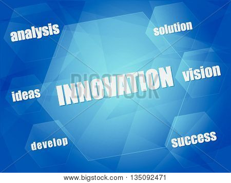 innovation and business creation concept words in hexagons over blue background, flat design, vector