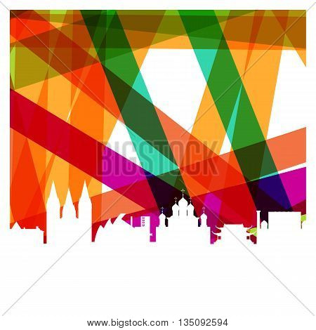 The contours of the religious temples and churches. Colorful abstract background. Vector illustration