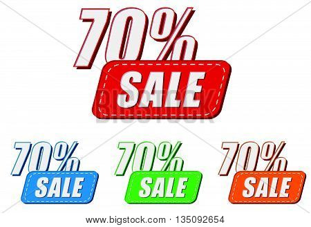 70 percentages sale, four colors labels, flat design, business shopping concept, vector