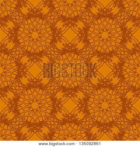 Seamless Texture on Orange. Element for Design. Ornamental Backdrop. Pattern Fill. Ornate Floral Decor for Wallpaper. Traditional Decor on Orange Background