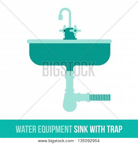 Vector flat icon water equipment sink with trap for bathroom, heating. Web design, booklets, brochures, advertisements, manuals, technical descriptions. Isolated on a white background.