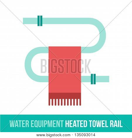 Vector flat icon water equipment for bathroom, heating. HEATED TOWEL RAIL. Web design, booklets, brochures, advertisements, manuals, technical descriptions. Isolated on a white background.