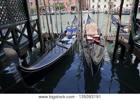 Beautiful gondolas parked on Grand Canal. Venice Italy