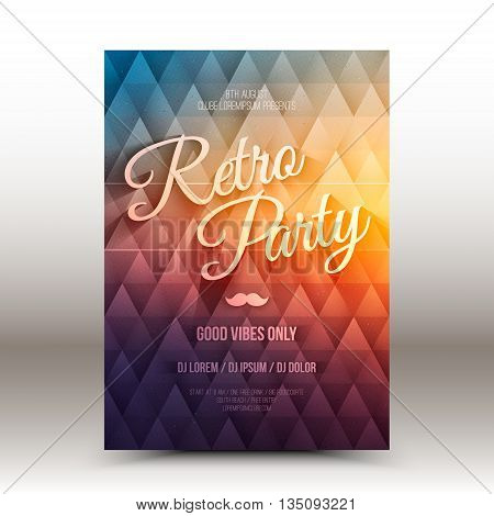Vector flayer design template with calligraphic text Retro Party