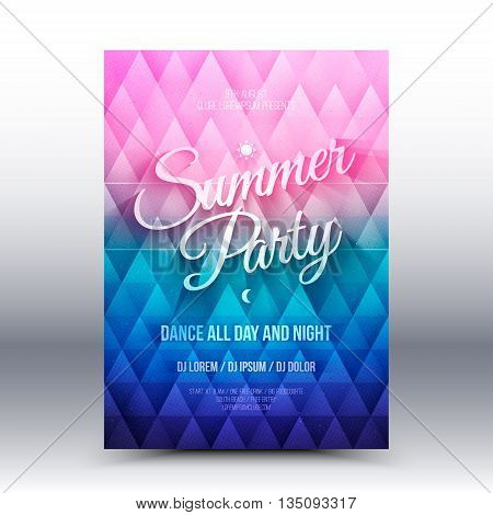 Vector flayer design template with calligraphic text Summer Party