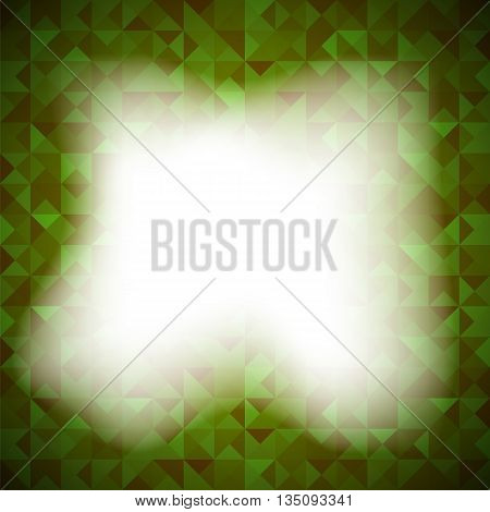 Green Background with Geometric Shapes, Triangles. Old Mosaic. Green-Mosaic-Banner. Geometric Hipster Green Pattern with Place for Your Text. Graphic Template Background