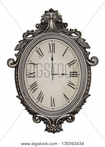 Three hours, three o'clock. Antique wall clock isolated on white background.