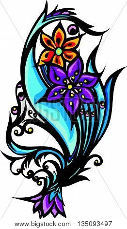 Old School Tattoo Art Flowers For Design And Decoration. Old School Tattoo Flower. Vector Illustrati