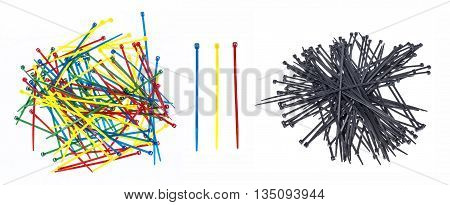 Black blue red and yellow wire straps