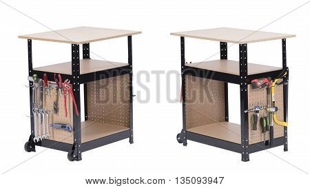Mobile workstation with tool sisolated on white background