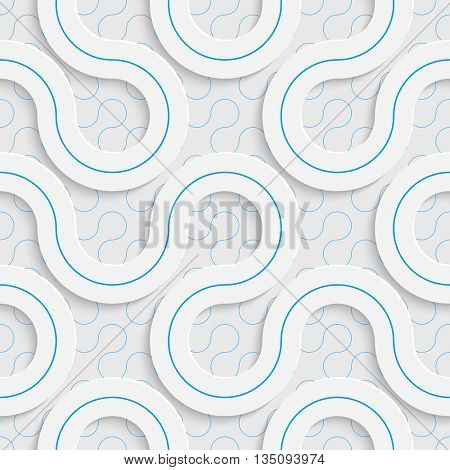 Seamless Wave nd Line Pattern. Vector Soft Background. Regular White Texture