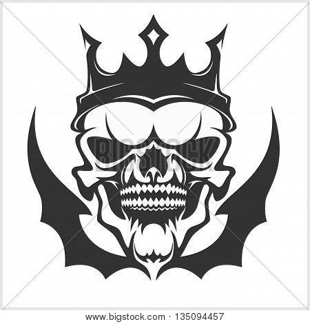 King skull wearing crown. Vector illustration on white.