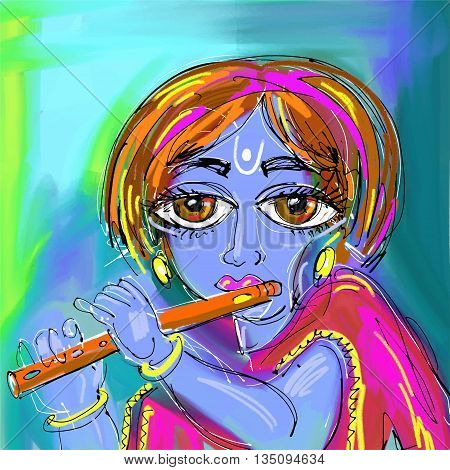 happy krishna janmashtami digital painting poster for indian traditional festival, vector illustration