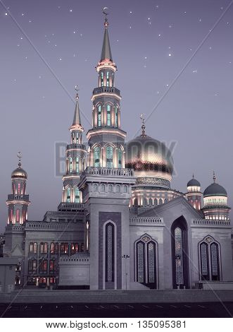 The largest and highest mosque in Europe - Moscow city near Prospekt Mira metro station Russia
