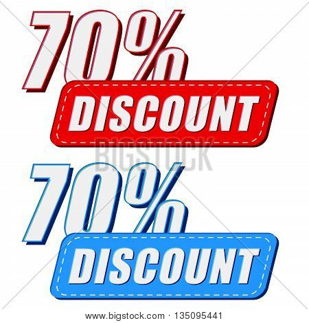 70 percentages discount in two colors labels, business shopping concept, flat design, vector