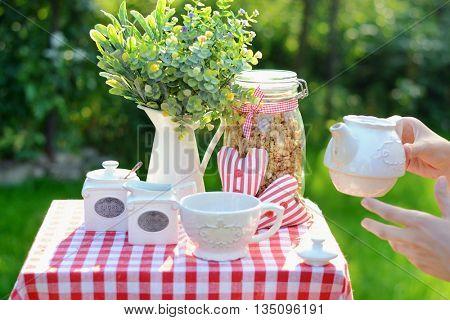 Tasty breakfast in the garden